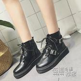 馬丁靴女英倫風學生韓版百搭機車靴秋季新款復古黑色短靴女潮 衣櫥の秘密