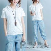 連帽T恤/棉質短袖女寬鬆打底衫「歐洲站」
