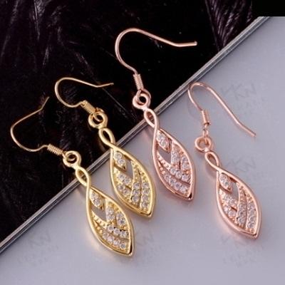 耳環 玫瑰金純銀 鑲鑽-典雅閃耀迷人氣質生日情人節禮物女飾品2色73bu37【時尚巴黎】