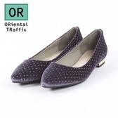 【ORiental TRaffic】俏皮點點絲絨平底鞋-氣質紫
