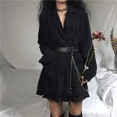 2020春夏正韓黑色西裝外套女ins原宿暗黑風網紅小西裝送腰帶鏈條