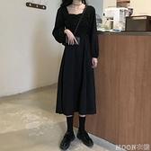 長袖洋裝長袖洋裝女春新款方領復古赫本風小黑裙顯瘦氣質長裙快速出貨