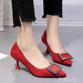 細跟鞋 尖頭細跟單鞋春季新款韓版百搭網紅職業高跟鞋學生復古女鞋子 芊惠衣屋