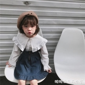 女童長袖襯衫-中小童翻領花邊兒童襯衫 春秋季女童時尚百搭長袖喇叭袖襯衣 糖糖日系