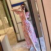 雪紡洋裝 2020夏季時尚性感開叉 寬鬆收腰顯瘦氣質碎花長款連身裙女  店慶降價