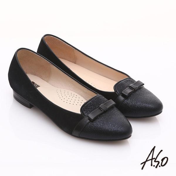 A.S.O 減壓美型 全真皮絨面金箔低跟鞋 黑