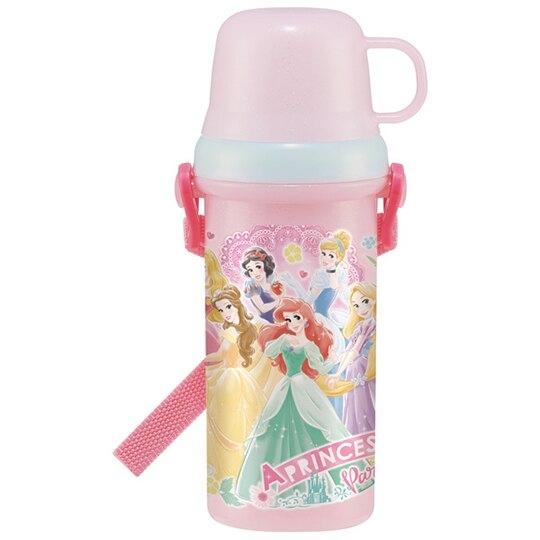 小禮堂 迪士尼 公主 日製 兩用直飲式水壺 附背帶 塑膠水瓶 兒童水壺 480ml (粉 禮服) 4973307-51880