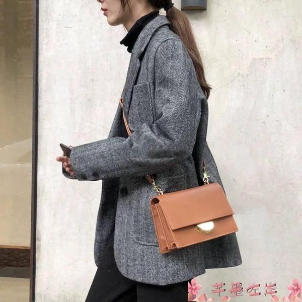 鎖扣包小ck包包女2021秋冬新款時尚小方包寬肩帶復古韓版百搭側背斜背包 芊墨 新品