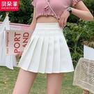 百褶裙 高腰a字白色半身裙顯瘦遮跨百褶裙女夏季2021新款小個子jk短裙子 晶彩