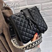 克妹Ke-Mei【ZT65422】paris 歐洲站個性鍊鎖菱格紋雙肩帶皮質大方包