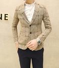 找到自己品牌 韓國男 米色大格子 小西裝 修身西裝 西裝外套 單件外套