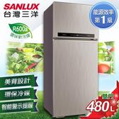 留言加碼折扣享優惠SANLUX台灣三洋 冰箱 480L雙門直流變頻冰箱 SR-C480BV1B