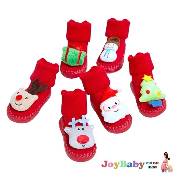 歡樂耶誕學步鞋 嬰兒軟底室內鞋 寶寶地板鞋-JoyBaby