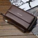 新款男士軟皮長款拉錬錢包大容量多功能手拿包商務多卡位手機包潮 印象家品