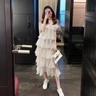 蛋糕裙 無袖高級感法式雪紡連身裙2021夏季新款氣質荷葉邊吊帶蛋糕裙女夏 寶貝