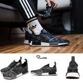 adidas NMD_R1 黑 灰 迷彩 boost 襪套式 反光設計 運動鞋 男鞋【PUMP306】 D96616