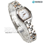 WIRED f 系列 太陽能 女錶 小錶徑酒桶型 防水女錶 玫瑰金x銀 AY8032X1 V117-0DT0KS
