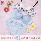 華歌爾-雙12大省團簡約 B-D 內衣褲3件組(V組)用輕鬆煥然一新-限時優惠QB1488-AH