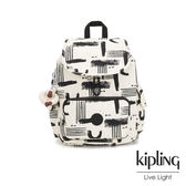 Kipling 幾何水墨塗鴉拉鍊掀蓋後背包-CITY PACK S
