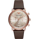 【台南 時代鐘錶 Emporio Armani】亞曼尼 AR11106 義式美學 古典紳士品味計時腕錶 皮帶 玫瑰金/咖啡