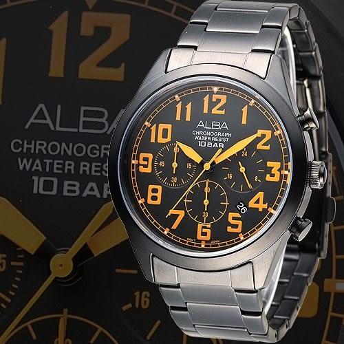ALBA 個性潮流三眼碼錶計時男錶-橘刻/IP黑(AT3527X1)【屈臣氏】