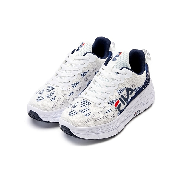 FILA CONTOUR LINE 男款白藍厚底透氣慢跑休閒鞋-NO.1J321V133