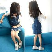短袖洋裝  韓版女童時尚破洞牛仔裙 S67001
