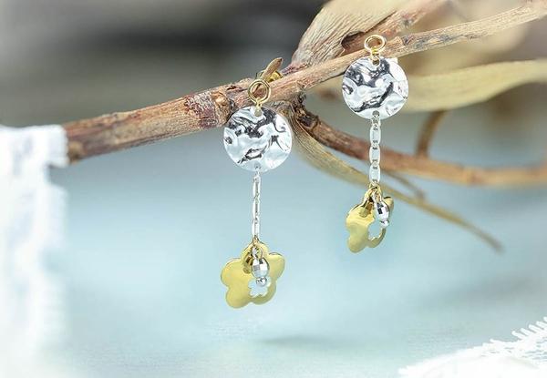 【鑽石屋】雙色k金耳環 雙色花朵耳環 甜美女人