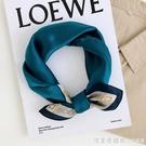 法式簡約復古藍色真絲蠶絲絲巾小方巾女春秋百搭裝飾領巾搭配襯衫 美眉新品