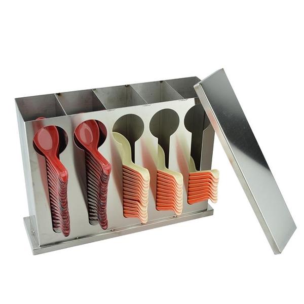 方形不銹鋼帶蓋子湯匙勺子收納盒不銹鋼湯匙適用