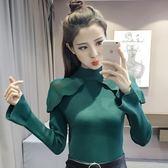 毛衣2018秋冬新款喇叭袖毛衣女荷葉邊緊身內搭貼身針織打底衫套頭上衣 99免運 萌萌
