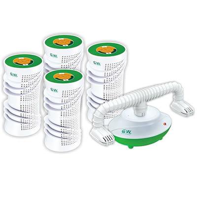 GW 水玻璃分離式除濕機特惠組 直筒快速炫風型6件組 (4除濕機、1還原座、1烘鞋架) 吸濕量125c.c.