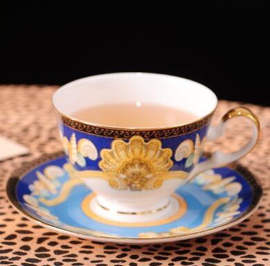 歐式高檔出口陶瓷咖啡套裝骨瓷杯碟奶茶花茶杯情侶杯帶勺英式紅茶