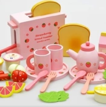 [Mother Garden]木製草莓麵包機嬰幼兒兒童扮家家酒木質玩具厨房切切看玩具