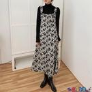背帶裙 2021新款秋冬法式復古碎花連身裙寬鬆顯瘦排扣開叉中長款背帶裙女 寶貝計畫 618狂歡