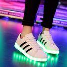新款韓版led亮燈鞋男usb充電七彩發光學生夜光熒光鞋鬼步舞鞋 LI2269『美鞋公社』