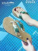 涼拖人字拖鞋女夏外穿平底可愛度假沙灘鞋女拖鞋海邊防滑夾腳 麥琪精品屋