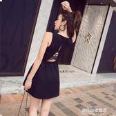 夏季新款韓版氣質無袖V領背心洋裝夜店性感修身赫本小黑裙 多莉絲旗艦店