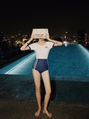 泳衣女遮肚顯瘦2019新款保守學生少女連體運動風專業訓練游泳衣