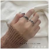 韓國版簡約復古做舊s925純銀泰銀鍊條戒指麻花情侶對戒男女食指戒 當當衣閣