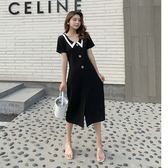 【GZ3B2】夏季新款韓版v領寬鬆連身裙洋裝複古小衆娃娃領開叉中長裙女F7143