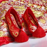 繡花鞋 新娘鞋婚鞋紅千層底布底平底中式婚鞋牡丹鳳凰繡花鞋上轎鞋秀禾鞋【韓國時尚週】