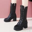 英倫風馬丁靴女粗跟高跟鞋黑色帥氣繫帶機車靴新款中筒拉錬騎士靴「時尚彩紅屋」