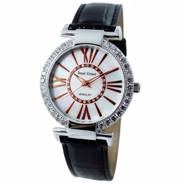 《Royal Crown》 RC-6116羅馬數字鑲鑽皮帶腕錶