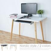 Homelike 哈曼北歐風電腦桌(附鍵盤架) - 純白色