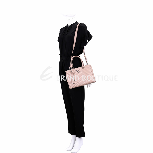 PRADA Diagramme 小款銀字絎縫小牛皮手提肩背托特包(裸色) 1920506-E2