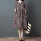 *ORead*大碼時尚舒適棉麻圓領連身裙(咖啡M~2XL)