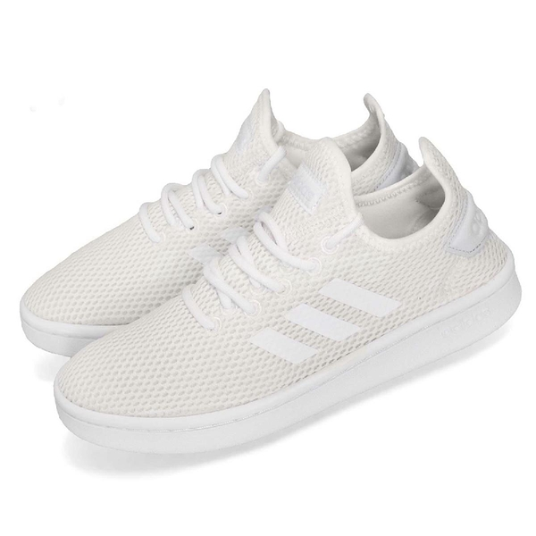 adidas 休閒鞋 Court Adapt 白 全白 低筒 襪套式 運動鞋 女鞋【PUMP306】 F36601
