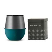 HYDY 時尚蛋型杯 孔雀綠-鈦灰 240ml +山山來茶鐵盒組