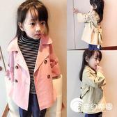 中小童童裝兒童風衣2018新款秋季女童時尚泡泡袖中長款風衣外套-奇幻樂園